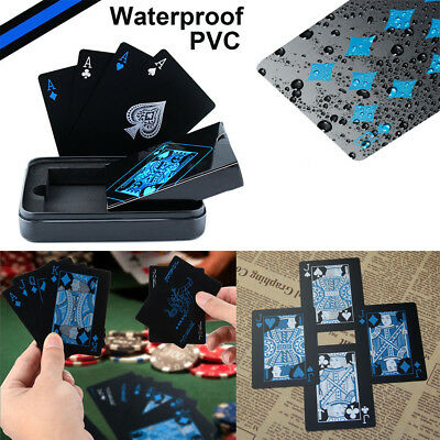 Black Waterproof PVC Poker Plastic Magic Table Game Club Playing Cards Set Gift