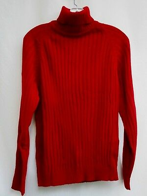 VTG 70's..DARK RED..TURTLENECK..PULLOVER..SWEATER..NEW OLD STOCK..sz LARGE