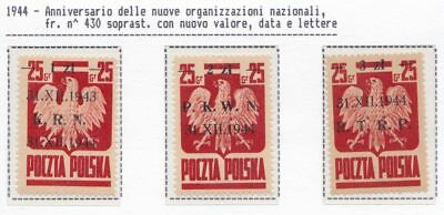 1944 POLONIA/POLEN/POLAND/POLSKA, n° 386/388 set of 3 MNH/**