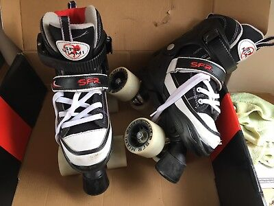 sfr stateside roller boot skates size UK size 12, 1, 2. black, red and white box