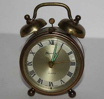 Vintage Blessing Alarm Clock West Germany - Mechanical Brass Clock Double Bell