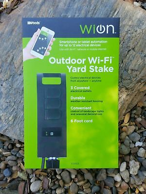 New WiOn Outdoor Wi-Fi Yard Stake Programmable Timer 3 outlets 6 ft cord