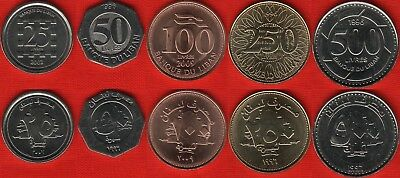 LEBANON COMPLETE FULL COIN SET 25+50+100+250+500 Livres 1996-2009 UNC LOT of 5