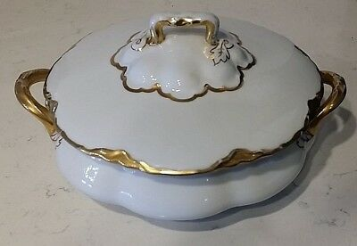 Vintage O&EG Royal Austria Soup Tureen With Lid Gold Trim