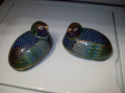 Pair of  Covered Chinese Quail  Trinket  Boxes