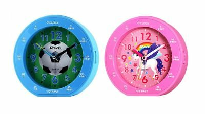 Ravel Blue Or Pink Plastic Kids Childrens Time Teacher Boxed Alarm Clock