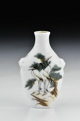 Antique Chinese Famille Rose Porcelain Snuff Bottle w/ Birds & View