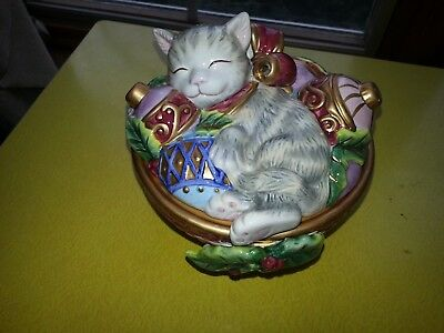 """Vintage Fitz and Floyd Essentials Hand Painted 'Christmas Kitten"""" Ornament Candy"""