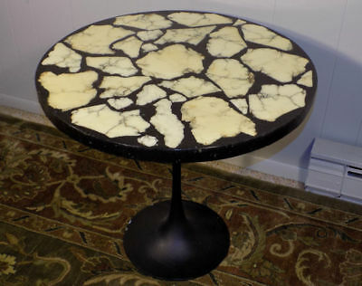 Arturo Pani style table top ONLY inlaid marble slab on black Hollywood Regency