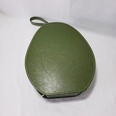 Vintage Hat Box Green with Handle Zipper Closure