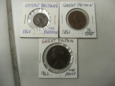 (3)GREAT BRITAIN 1860,1861,1862 / 1 Farthing,1/2 Cent, 1 Penny-Very Old but nice