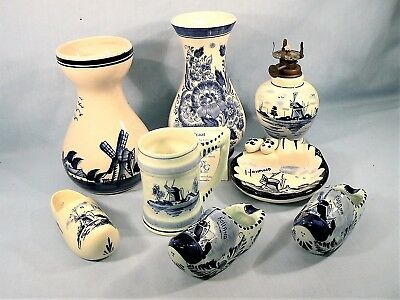 Vintage DELFT BLUE & WHITE COLLECTION 8 PIECES Hand Painted Holland