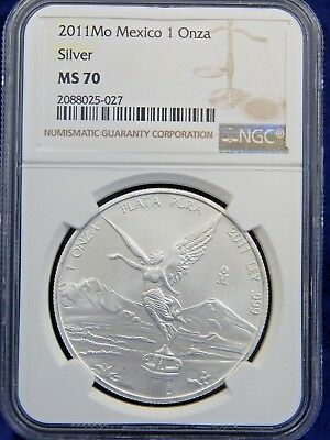 2011 Mo 1 OZ NGC MS70 SILVER UNC ONZA or LIBERTAD of MEXICO WHITE REGISTRY!