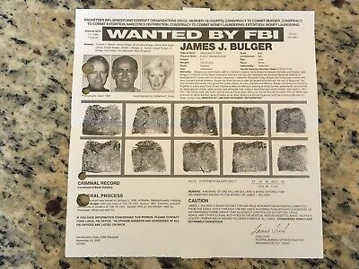 "Mafia Crime Family Boss James ""Whitey"" Bulger Fbi Wanted Poster *Please Offer*"