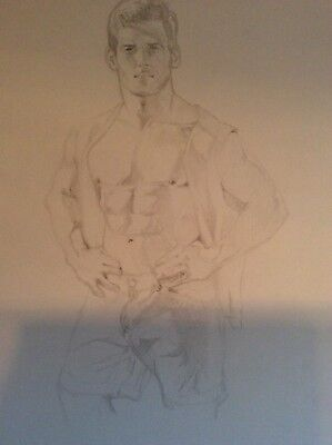 Original Artist Signed Male Nude Posing. Pencil Drawing.  11 x 14.  Dated 2003