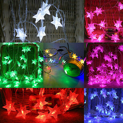 Crystal Clear Star LED Fairy String Light Wedding For Party Outdoor Decor Lamp