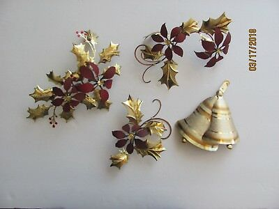 Vintage Home Interior 4 Metal Tin Poinsettia Berry Bell Leaves Wall Hangings
