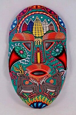 Huichol Hanging Yarn Mask Mexican Folk Art Hand Made Collectible New Decor Huge
