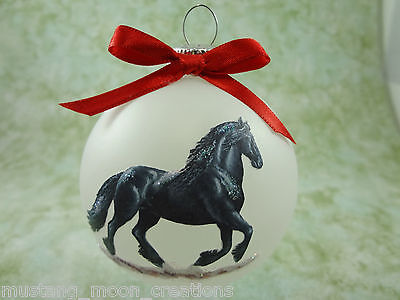 H028 Hand-made Christmas Ornament HORSE- black friesian canter gallop to right