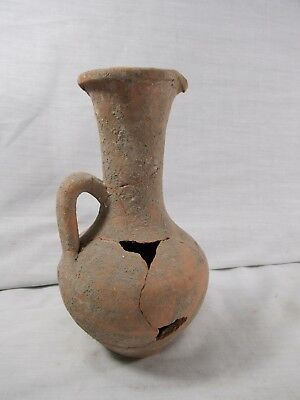 Antique Ancient Coil Pottery Jar Vase Pouring Spout Archeology Dig 8""