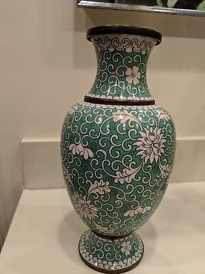 """Vintage Chinese Cloisonne White & Green Floral Vase 11"""" Tall"""