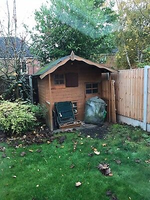 Childrens Painted Outdoor Playhouse With Bedroom Area And Side Doors