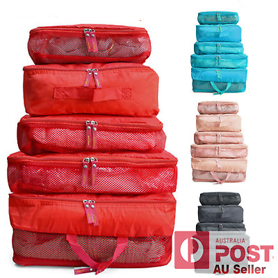 5Pc Packing Cube Pouch Travel Bags Clothes Storage Suitcase Luggage Organiser AU