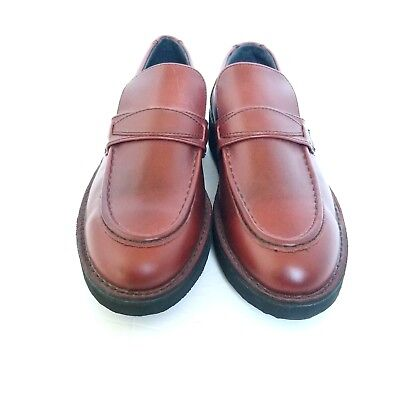 Mens Eva-Tech Footonic Ii Leather Shoes Sz 9.5 Brown Slip On Loafer Nwot