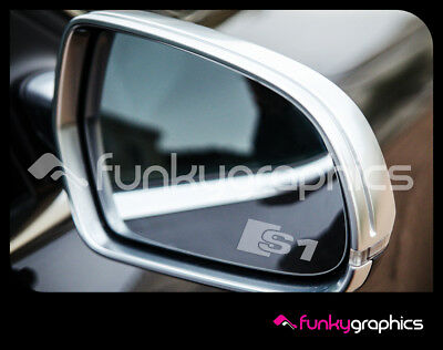 AUDI S1 LOGO MIRROR DECALS STICKERS GRAPHICS x3 IN SILVER ETCH