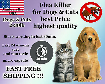 100 Instant Flea Killer Control Dogs and Cats 2-30lb with15mg Smallest Capsule!!