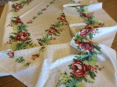 Vintage 50 Style Tablecloth  With Roses & Spots