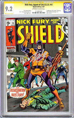 Nick Fury Agent Of Shield #15 Cgc 9.2 Ss Signed Stan Lee Bullseye 1969