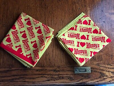 """Lot of 2...VINTAGE WENDY'S Old Fashioned HAMBURGERS """"I love Wendy's"""" Scarf"""