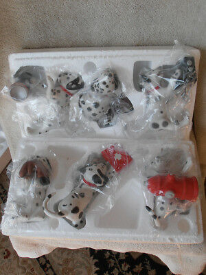 RARE NRFB Set 6 Princeton Gallery FireHouse Antics Porcelain Dalmatian Dogs