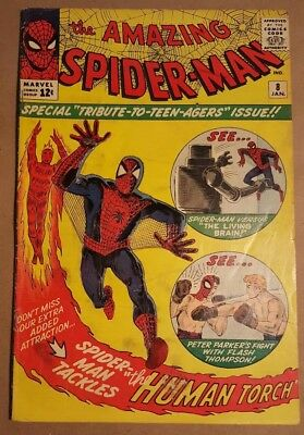 Amazing Spider-Man #8 Marvel Comic Kirby Ditko Torch NO CGC nice pages !!!!!!