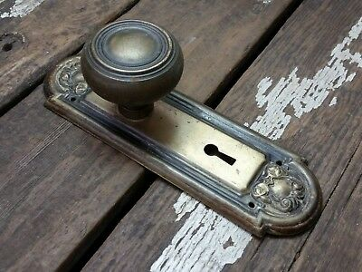 VTG Antique Old Ridged Door Knob & Metal FANCY Rustic Shabby Backplate Cover **