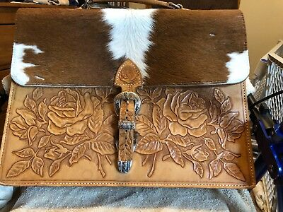 Western Cowhide and Tooled Leather Laptop Case with Leather Handle