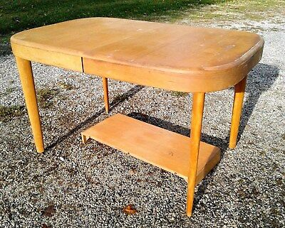 Mid Century Heywood Wakefield Dining Table with One Leaf 1950's Era