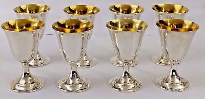 Lord Saybrook by International Sterling Silver Goblet Gold Wash Set of 8 #11951