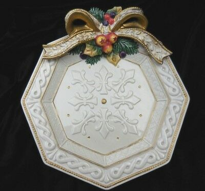 Fitz and Floyd SNOWY WOODS PLATE Gold Bow CHRISTMAS PLATE Hard to Find