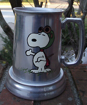 Snoopy the WWI Flying Ace Beer Mug Stein, Peanuts, Hand Painted, Aluminum, Pilot
