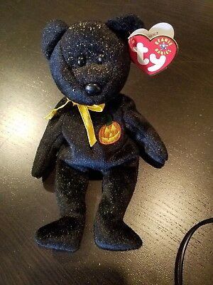 Retired Ty Beanie Baby Haunt The Sparkly Black Halloween Bear 2000 LNWT