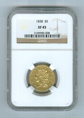 NGC XF45 1838 Gold $5 Classic Liberty Head United States of America