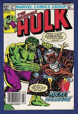 The Incredible Hulk #271  1st Rocket Raccoon Marvel 1981 Newsstand GOTG