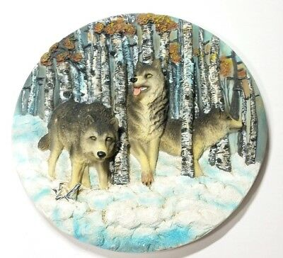 Decorative Wolf Plate 3D Forest Snow Hunting