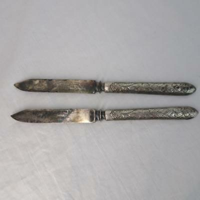 Vtg Antique Reed & Barton Ornate Silver Plate Letter Opener Lot of 2 Matching