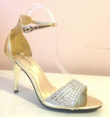 Ladies Womens Gold High Stiletto Heel Wedding Bridal Prom Party Sandals Size 6
