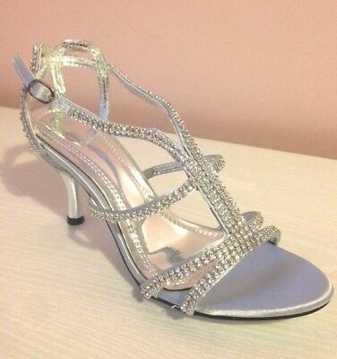 Ladies Womens Silver Mid Heel Diamante Wedding Bridal Prom Party Sandals Size 4