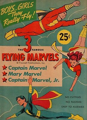 1944 Captain Marvel Family Rare Large Flying Paper Toy Nm Unused