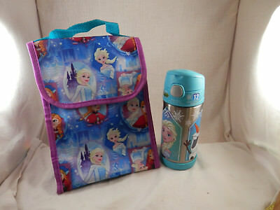 Disney Parks Frozen Elsa & Anna Funtainer Thermos 12 oz & Lunch Bag insulated